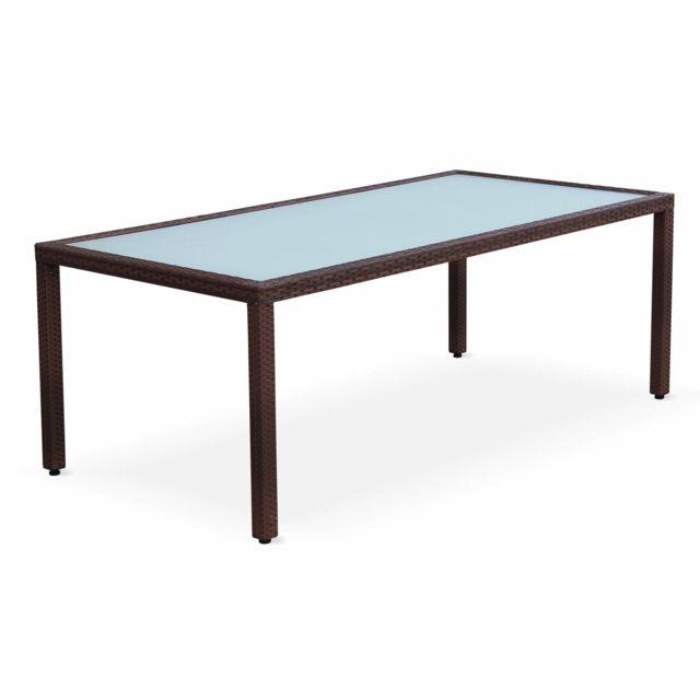 ALICE'S GARDEN Table de jardin 200cm salon en résine tressée 8 personnes Chocolat