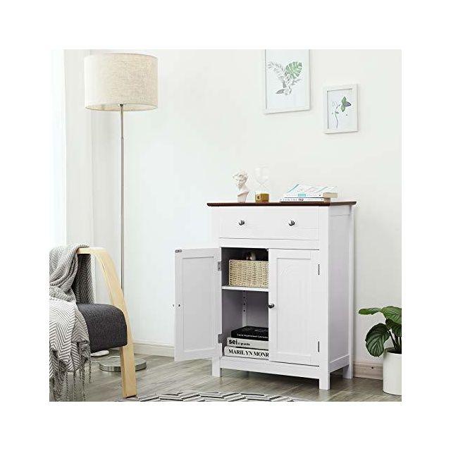 Meuble de Salle de Bains, avec Tiroir et cloison Amovible, Placard, Style  Cottage, Meuble de Rangement, Dimensions: 60 x 30 x 80 cm L x l x H Blanc  et ...