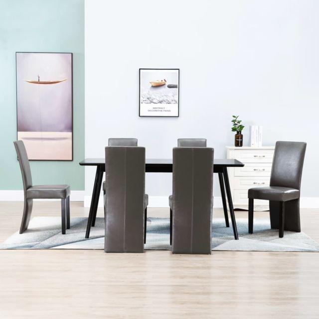 Magnifique Fauteuils et chaises famille Oslo 6 pcs Chaises de salle à manger Gris Similicuir