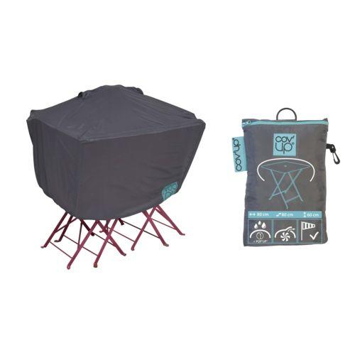 dcb garden table de jardin avec 4 fauteuils encastrables noirs et une housse de protection. Black Bedroom Furniture Sets. Home Design Ideas