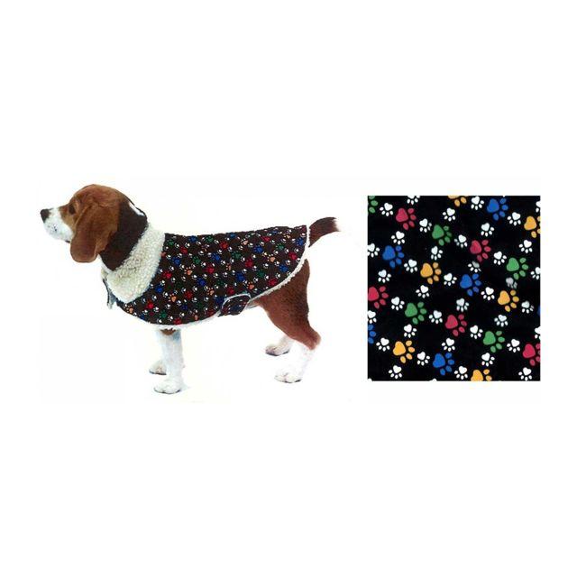 Manteau pour chien fourré décor pattes de chien taille L polyester