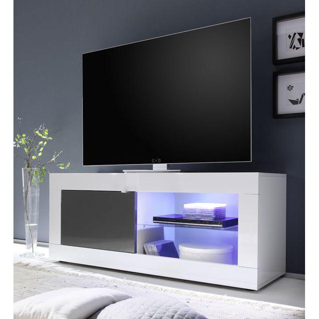 Sofamobili Meuble Tv blanc et gris laqué design Felino 3