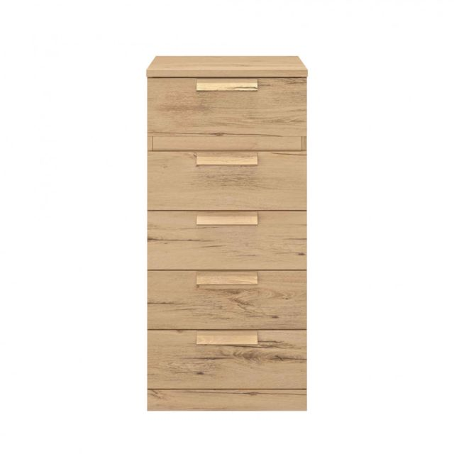 TERRE DE NUIT Chiffonnier 5 tiroirs en bois imitation chêne clair - CF5029