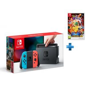 NINTENDO - Console Switch avec un Joy-Con rouge néon et un Joy-Con bleu néon + Pokkén Tournament DX - Switch