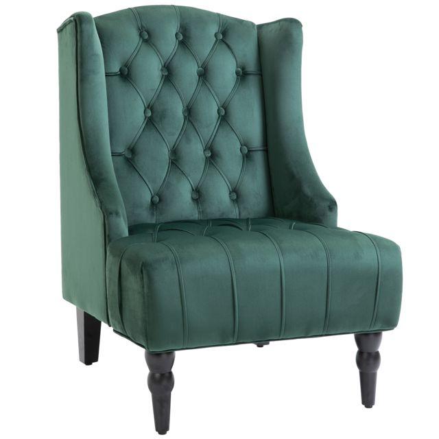 HOMCOM Fauteuil Chesterfield grand confort dossier assise capitonné avec boutons velours vert