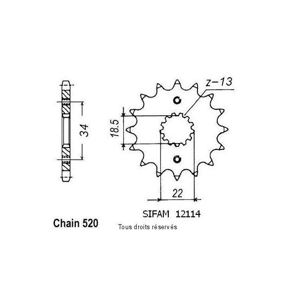 HUSABERG FE250-390-450-570-PIGNON 14 DENTS ACIER-46000682