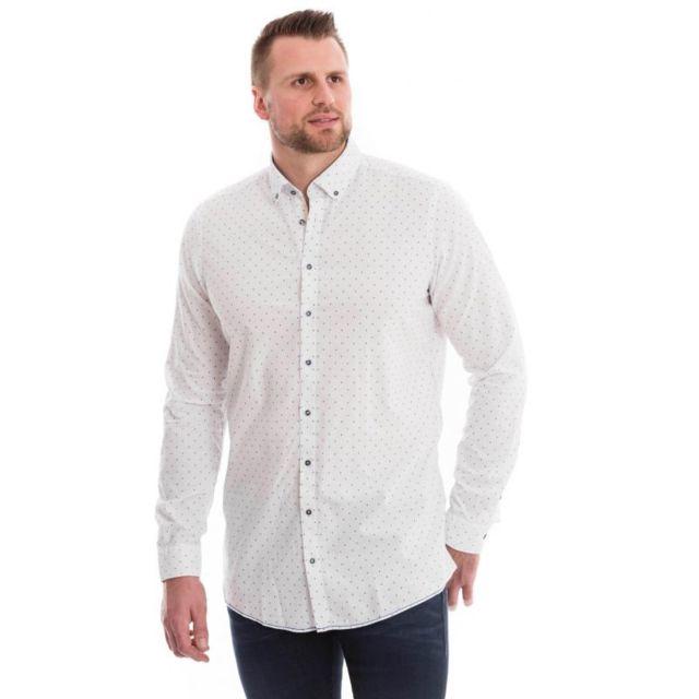 Venti Chemise blanche à motifs ronds bleu