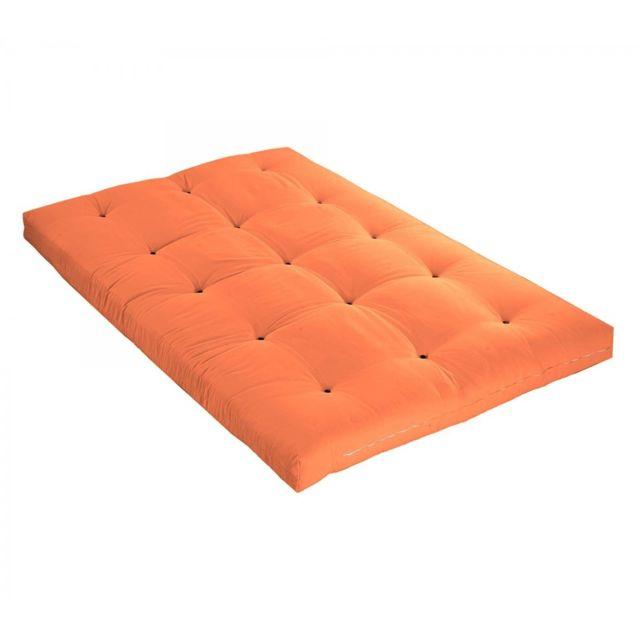 TERRE DE NUIT Matelas futon orange goyave en latex 90x190