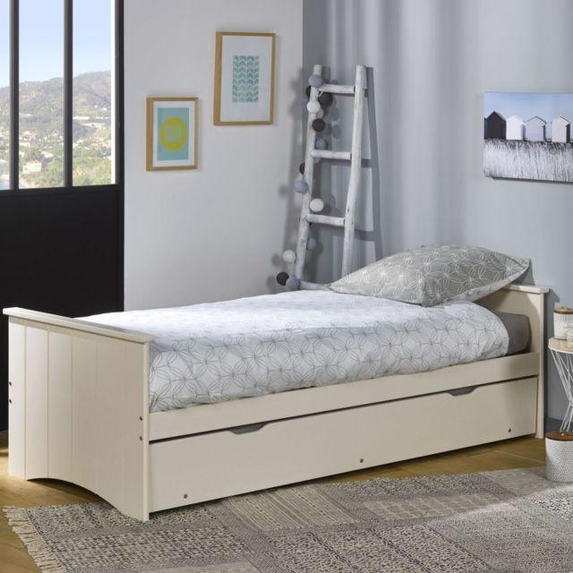 ebac lit gigogne matelas 80x190 bois perle pas cher achat vente lit enfant rueducommerce. Black Bedroom Furniture Sets. Home Design Ideas