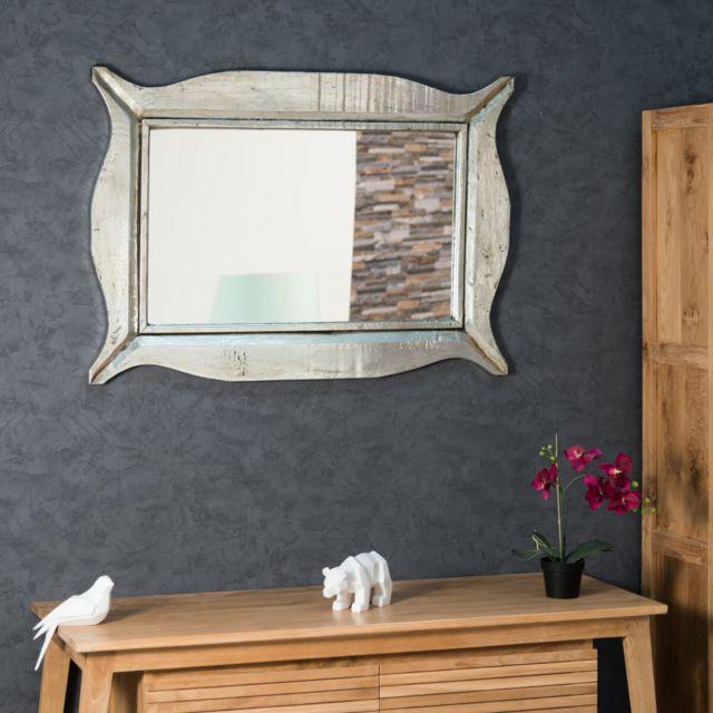 Wanda Collection Miroir Moderne en bois patiné argent 70 x 100cm