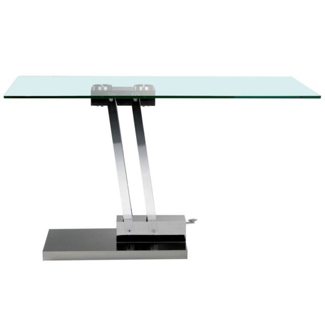Inside 75 Table basse relevable Bravo en verre transparent structure chromée