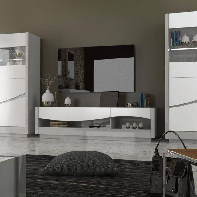 Tousmesmeubles Meuble Tv 2 Tiroirs Laque Blanc Gris Ralf Pas Cher Achat Vente Meubles Tv Hi Fi Rueducommerce