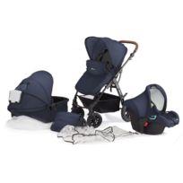 Kinderkraft - Poussette 3 en 1 bébé combinée multifonctions avec siège auto & accessoires Moov | Bleu foncé
