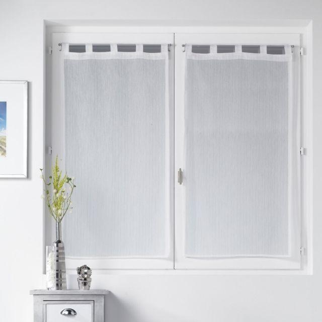 paris prix paire de voilages lorenza 60x90cm blanc pas cher achat vente rideaux. Black Bedroom Furniture Sets. Home Design Ideas