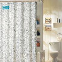 Msv - Rideau de douche polyester 180 x 200 cm galets