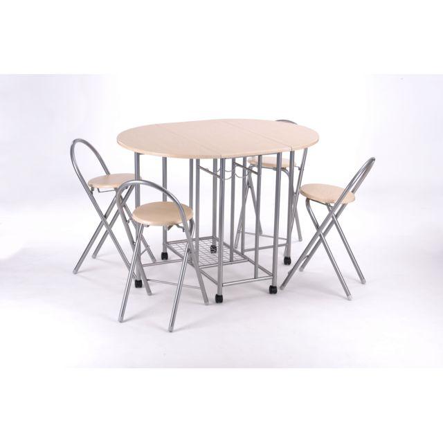 Carrefour set pliant table et chaises 5 pi ces emory m tal et bois 110cm x 90cm pas for Carrefour table a manger