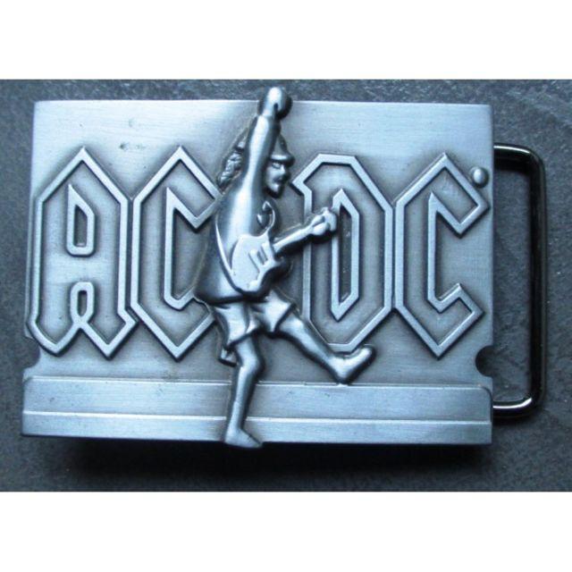 beau lustre chaussures d'automne pas cher boucle de ceinture Ac/DC et guitare alu hard rock roll usa