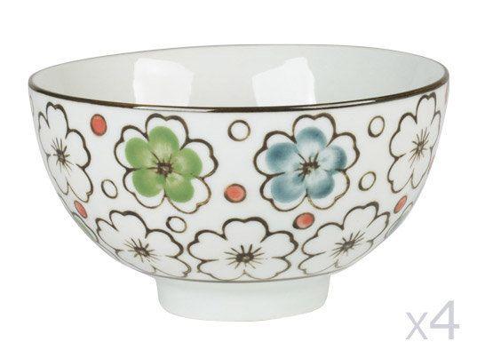 Table Passion Bols en porcelaine D.11cm motif floral - Coffret de 4 pièces Choshi