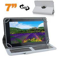 Yonis - Etui de protection tablette 7 pouces 360 ° simili cuir Blanc