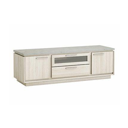 Meuble Tv 2 portes 1 tiroir en décor chêne et beton clair