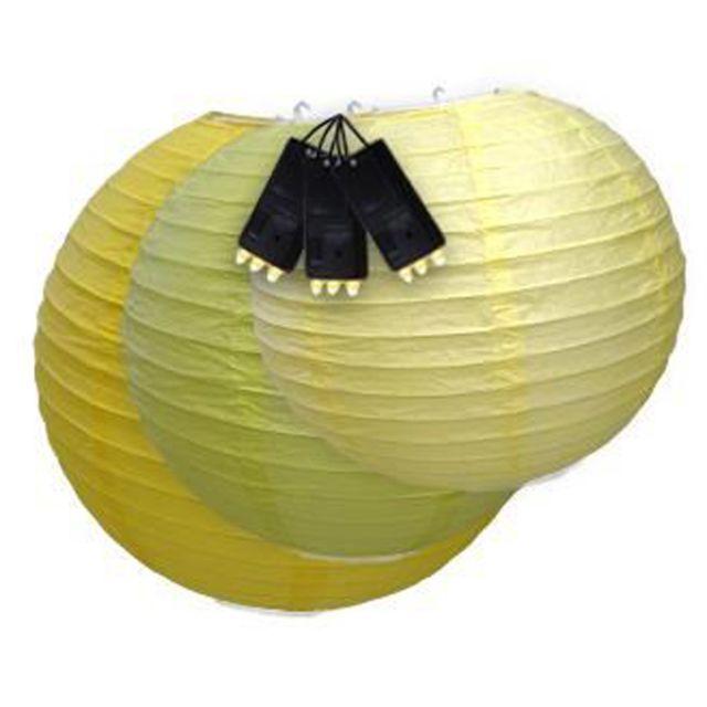 Skylantern - Lampion Boule Japonaises Lumineux Jaune x3