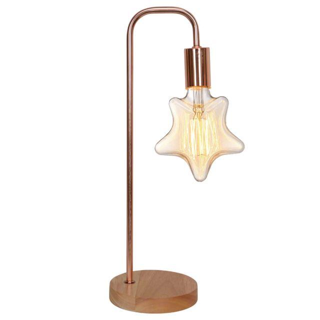 IntÉRIEUR Discount Lampe à poser en métal finition cuivré et socle en bois H.49cm