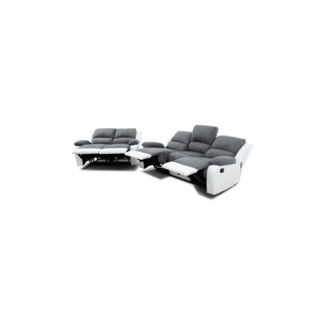 Sans Marque Relax Ensemble canapes droits de relaxation 3 + 2 places - Microfibre gris et simili blanc - L 190 x P 93 cm + L 144 x P