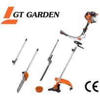 GT GARDEN - Multifonction thermique 4 en 1 avec guidon : tronçonneuse - débroussailleuse - taille-haies et rallonge