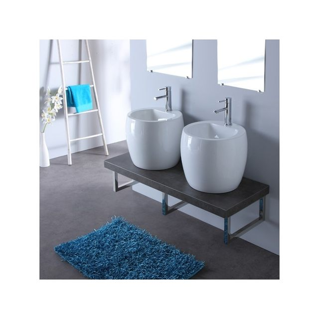 Planetebain - Meuble de salle bain gris avec double vasques blanche ...