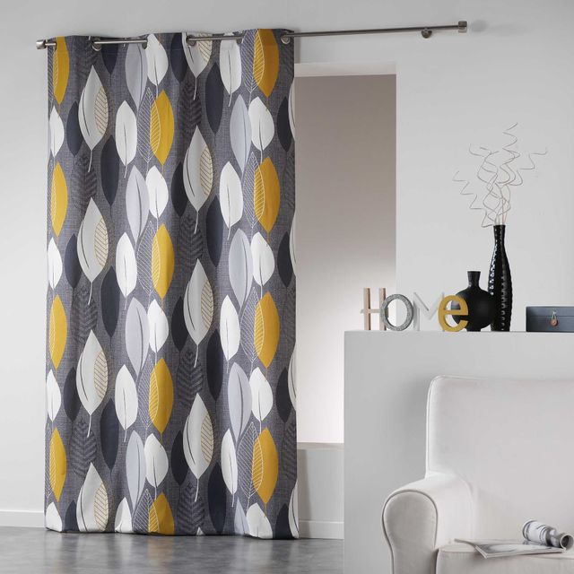 Coton D'INTERIEUR Cdaffaires Rideau a oeillets 140 x 240 cm coton imprime leafy Jaune