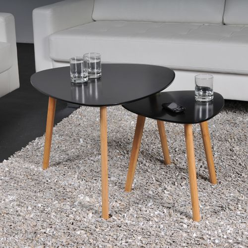 No Name Lot De 2 Tables Basses Gigognes Onyx Noir Pas Cher