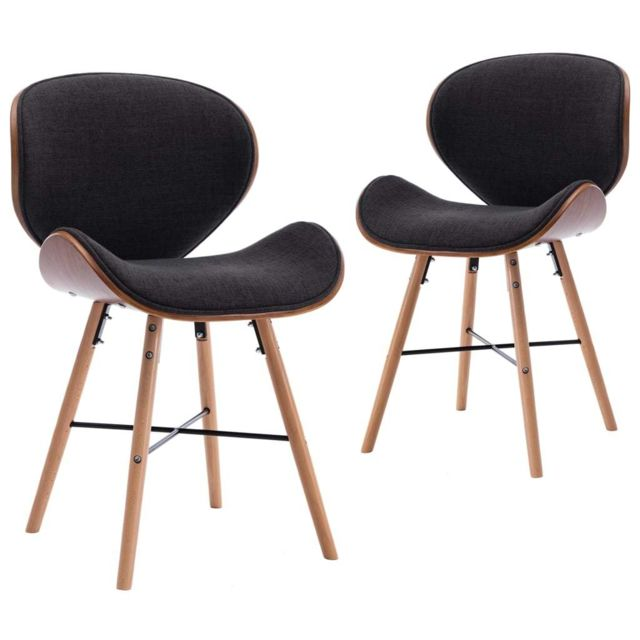 Chaises de salle à manger 2 pcs Gris foncé Tissu et bois courbé