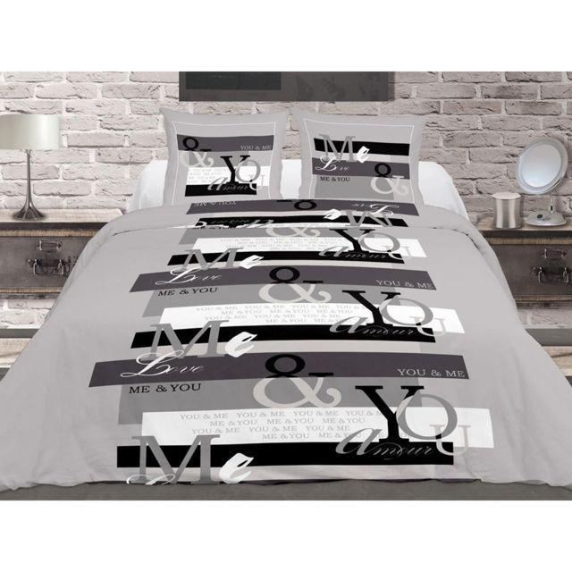 soleil d 39 ocre housse de couette 220x240cm et deux taies amour gris 100 coton 220cm x 240 cm. Black Bedroom Furniture Sets. Home Design Ideas