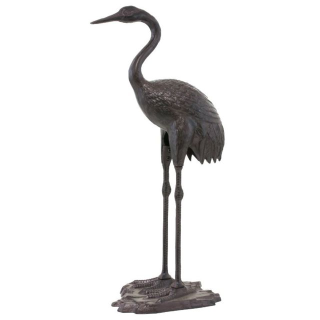 Chemin De Campagne Statue Sculpture de Héron Oiseau en Fonte Marron de Jardin 73 cm
