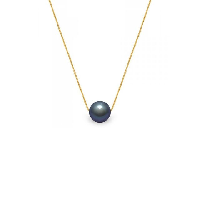 Blue Pearls Collier Femme Ras du Cou et Chaine Venitienne Or jaune 750/1000 et Perle de Culture d'eau douce Noire - Bps 0253 W