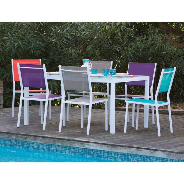 Les Essentiels By Dlm - Salon de jardin 6 places : 1 table aluminium ...