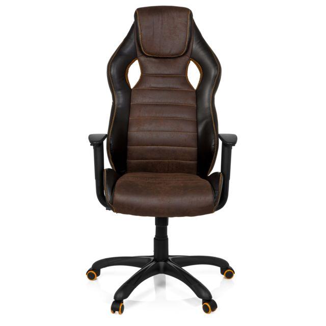 Chaise de bureau Gaming Racer Vintage Iv simili cuir marron