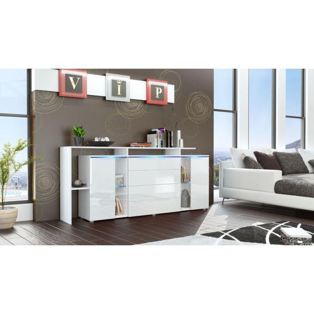 Mpc Buffet design vitré blanc avec led 185 cm