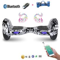 Cool And Fun - Cool&FUN Hoverboard Bluetooth,Scooter électrique Auto-équilibrage,gyropode connecté 10 pouces Noir carbone presse design
