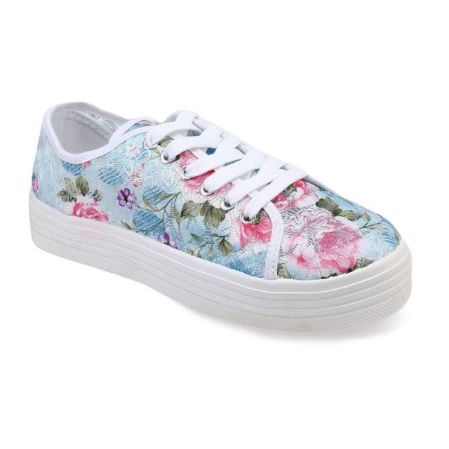 42b5c9d20c091 Lamodeuse - Tennis à plateforme motif floral blanc - pas cher Achat ...