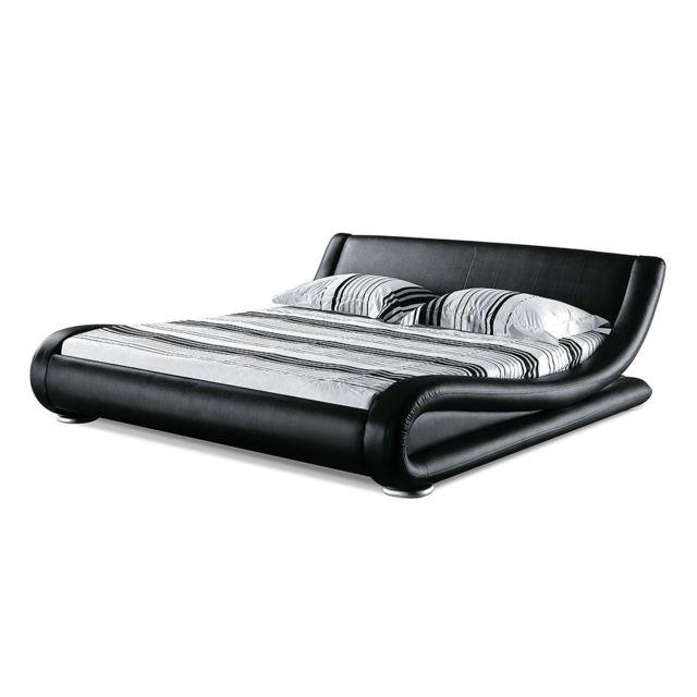 beliani lit design en cuir lit double 160x200 cm noir sommier inclus avignon pas. Black Bedroom Furniture Sets. Home Design Ideas