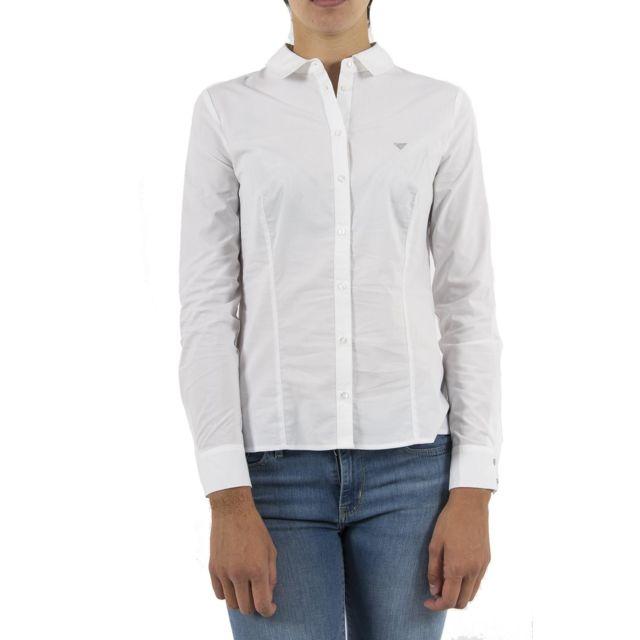 025f015b0e8b Guess - Chemisier jeans w83h26 blanc - pas cher Achat   Vente Chemise femme  - RueDuCommerce