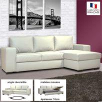 - Canapé d'angle réversible convertible en Pu coloris blanc - Stewart