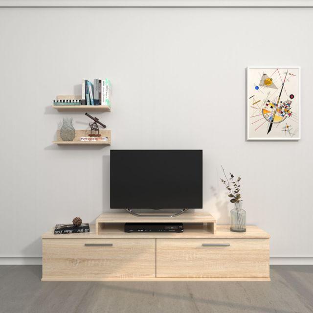 Homemania Meuble Tv avec étagère design Orione - L. 150 x H. 39 cm - Marron sonoma