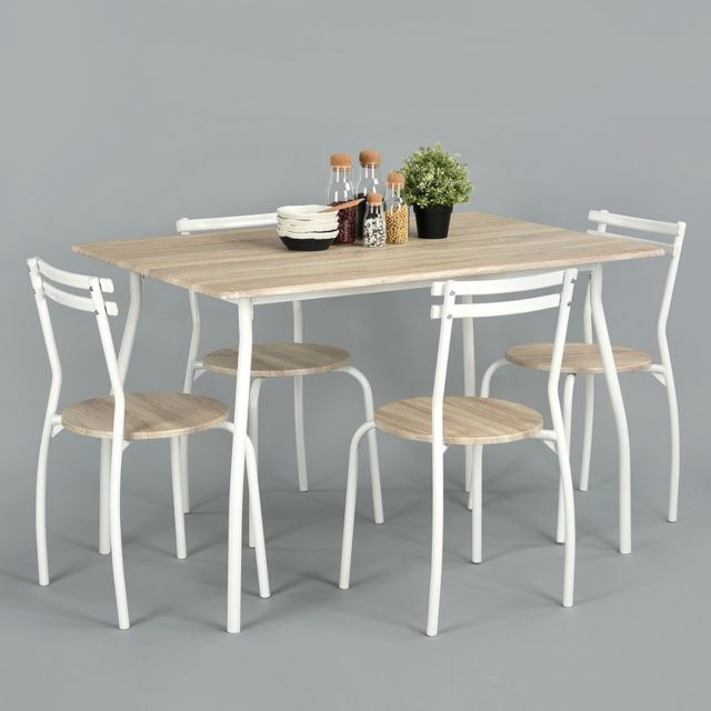 Ego Design Ensemble table + 4 chaises Winter bois clair