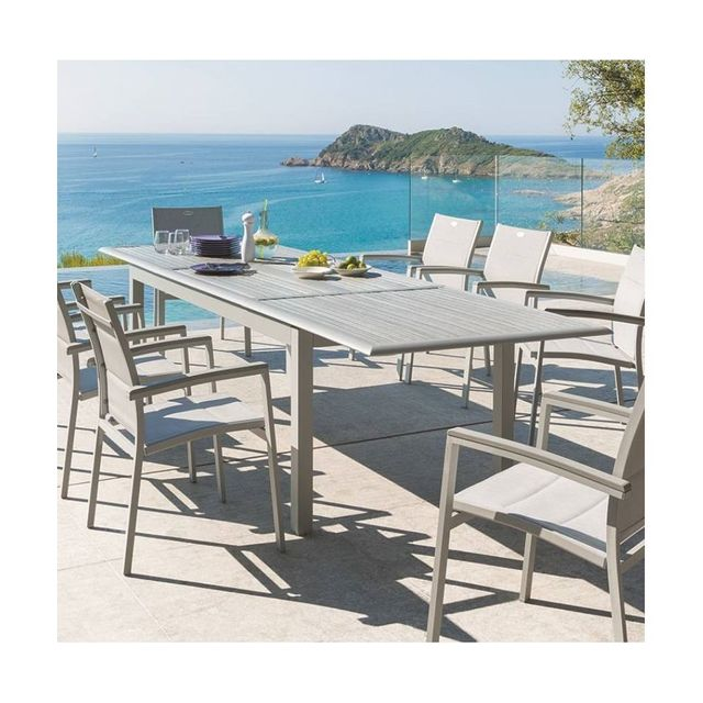 HESPERIDE - Table extensible Azua en bois 12 personnes gris / silver ...