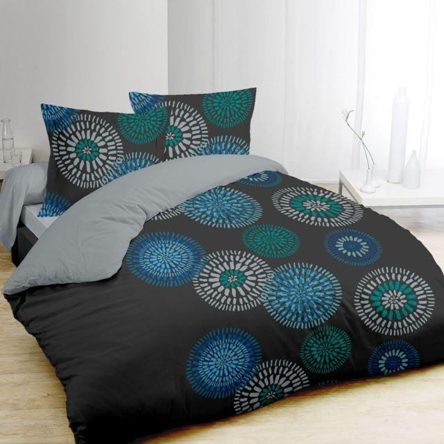 vision housse de couette 240x260 2 taies ines 100 coton gris 260cm x 240cm pas cher. Black Bedroom Furniture Sets. Home Design Ideas