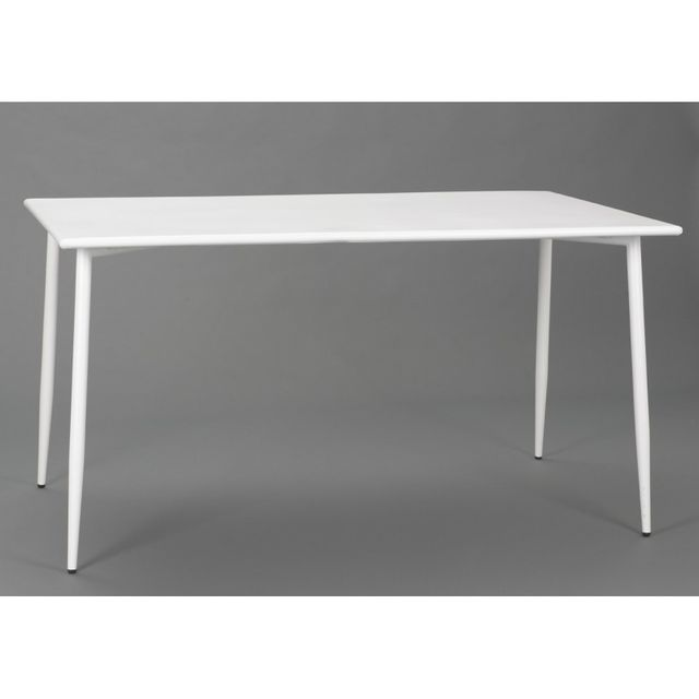 Amadeus Table rectangulaire scandinave en acier blanc Epoxy