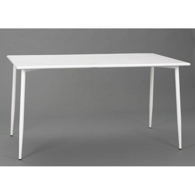 Amadeus table rectangulaire scandinave en acier blanc Table scandinave rectangulaire
