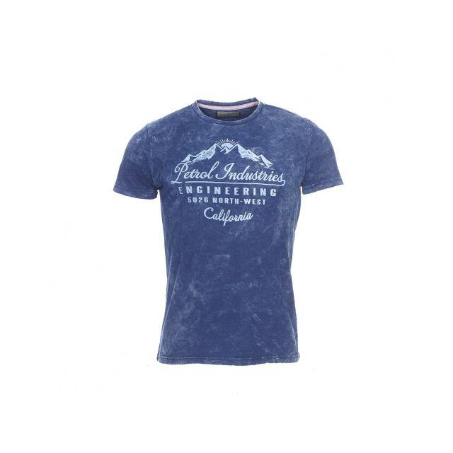 effet à Tee Industries Petrol indigo bleu délavé shirt imprimé 4FXqqwx